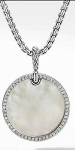 David Yurman Elements Disc Pendant Necklace Mother of Pearl Diamonds Box Chain