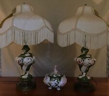 Beautiful Hand Painted Ceramic Lamps Made In Italy w/matching Candy Dish & Lid