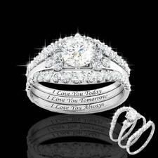 3pcs/set Classic Bright 925 Silver Diamond Promise Ring Women Wedding Jewelry
