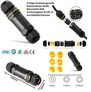5-Polige Verbindungsmuffe Kabelverbinder Muffe Wasserdicht IP68 1 bis 14mm