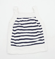 Marks & Spencer Womens Size M Striped Cotton Strappy White Top (Regular)