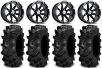 "MSA Black Diesel 14"" ATV Wheels 27"" Cryptid Tires Yamaha Grizzly Rhino"