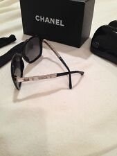 CHANEL jeweled black polarized lens sunglasses side jewels bling NEW box & case