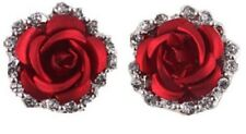 Pair Crystal Rhinestone Red Rose Silver Earrings Stud Clip Pierced FlowerUK E101