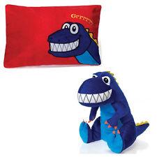 "Pillow 18"" Reversible Dinosaur Peek-A-Boo Plush Cuddle Travel Buddy Blue Kids 3+"