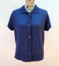 David Jones Blue Knit Short Sleeve Cardigan Size Large