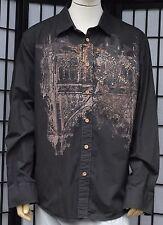 Brad Butter Mens Black Button Front Long Sleeve Graphic Large Comb Cotton Shirt