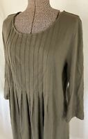 J. Jill Green Pleated Bodice 3/4 Sleeve Tea Length Shift Dress Size L Large