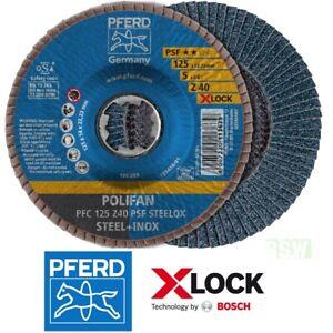 10 PFERD-POLIFAN X-LOCK Fächerschleifscheiben Auswahl 115-125mm PFC PSF STEELOX