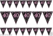 40TH BIRTHDAY PARTY PENNANT FLAG BANNER PINK & BLACK 40 BUNTING DECORATION