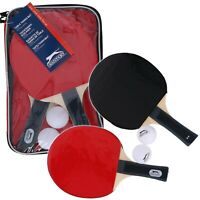 5pc Table Tennis Ping Pong Set 2 Balls 2 wooden Bats Paddle Zip Bag Carry Case