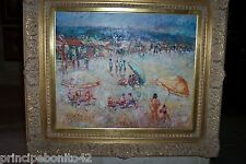"""""""A DAY AT THE BEACH"""", OIL, SIGNED, GREAT FRAME. EXCELLENT DETAILED WORK"""