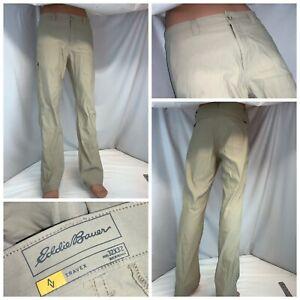 Eddie Bauer Travex Pants 32x32 Tan Nylon Lycra LNWOT YGI J0-249