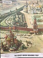 """INTOURIST AFFICHE  """"THE SOVIET UNION WELCOMES YOU!"""" VUE DE MOSCOU"""