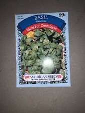 "Vegetable Seeds Gardening Planting "" Basil� Herb  American Seeds"