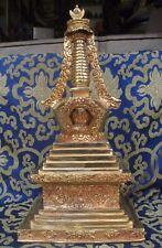 Antique  Master Quality Handmade Copper Gold Plated Tibet Stupa Chorten ,Nepal