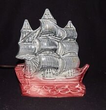 VINTAGE SAILING SHIP TELEVISION TV NIGHT ELECTRIC LIGHT LAMP Pirate Red & Black