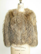 YVES SALOMON SIZE 36 RACCON FUR KNITTED JACKET MADE IN FRANCE
