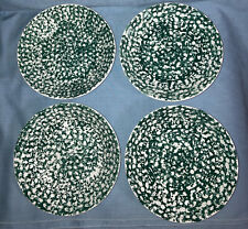 4 LA Primula SRL Pasta Bowls Green/white Splatter Pattern Made In Italy Roma Inc