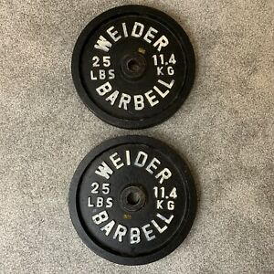 """2 Lot 25lb Weider Standard Weight Vintage 1"""" hole Barbell Plates 50 Lbs Total"""