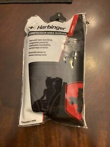 Harbinger Performance & Compression Lifting Knee Sleeves, Black & Red Sz Lg