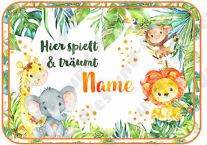 ✿Süßes Safari Tiere Türschild Deko Elefant ✿ Baby Kinderzimmer ✿ + Text & Name ✿