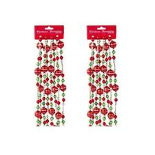 Kurt Adler Red Green Silver 9' Shiny Bead Christmas Garland Set of 2