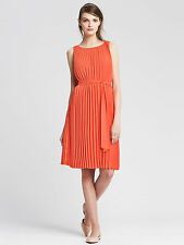 NWT Banana Republic Pleated Tie-Front Dress Color Orange Size 10