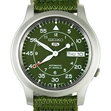 SEIKO Men SNK805 SEIKO 5 Automatic Green Cloth Band Retail $185 without Box