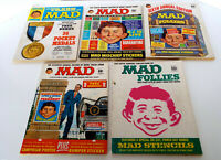 Vintage Mad Magazines 1967-1969 Follies Trash Humor Satire Idiocy 5 Piece Lot