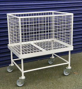 Commercial White Laundry Trolley