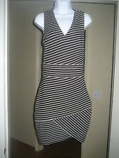 ROBERT RODRIQUEZ Black and White Striped Dress Sz 8