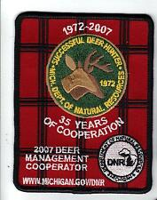 2007 MICHIGAN DNR SUCCESSFUL DEER HUNTER PATCH -BEAR-TURKEY-ELK-MOOSE-FISHING