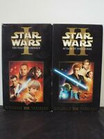Star Wars 1 2 I II VHS The Phantom Menace and Attack of the Clones Lot of 2