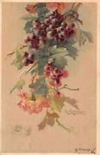 Greetings Grapes and Roses Artist Signed Klein Antique Postcard J46589