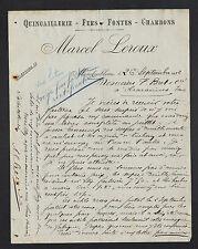 """MONDOUBLEAU (41) QUINCAILLERIE FER CHARBON """"Marcel LEROUX"""" en 1922"""