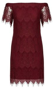 City Chic Dress XS Lace Off Shoulders Shift Sexy Curvey Fashion Maroon Red