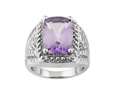 5.85 ctw Pink Amethyst Ring .925 Sterling Silver Sz 7