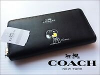 Snoop Peanuts Black Leather Women's Wallet F53773 with Box!