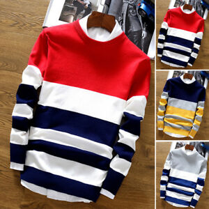 Men's Fashion Stylish Korean Warm Knitted Sweater Pullover Tops Knitwear New