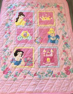 Vintage Disney Princess Toddler Pink Blanket Cinderella Quilt Belle Snow White