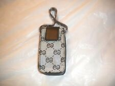 NEW   CELL PHONE POUCH WITH DESIGN  AND  A   STRAP FOR THE PURSE BLACK GRAY COM