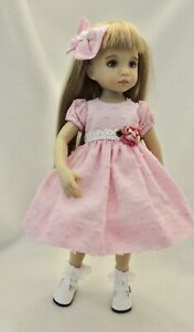 """Dotted Swiss Dress & Hair Bow - fits 13"""" Little Darling by Dianna Effner"""