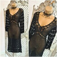 CHANGES BY TOGETHER  💋 UK 16 Sexy Sheer Black Heavy Crochet Dress ~Free P&P~