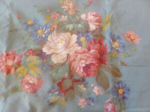 Vintage Material Red Pink White Roses on Teal 6 Yard Cotton