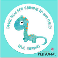 Personalised Dinosaur Birthday Stickers Thank You for Coming Party Sweet Cone