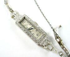 Movado Art Deco Platinum Diamond  Dinner Watch