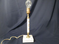 Porcelain Or Ceramic Lamp 16 1/2 Inches Tall To Top Of Bulb Floral design gold