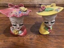 2 Vintage Thames Hand Paint Lady Head Vase Bone China Gorgeous Yellow/Pink Lash