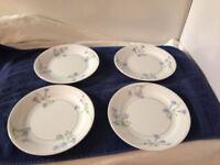 Blue Dusk Corelle 4 Plates Salad Dessert  Blue Bell Flowers  Floral